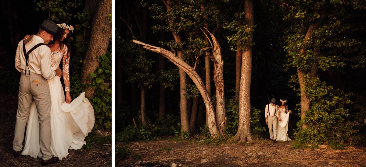 sesja śłubna w lesie