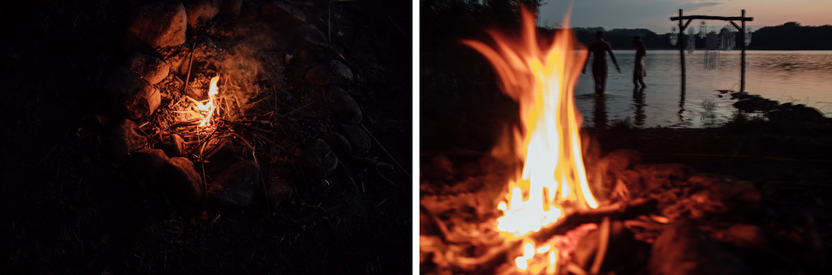 sesja śłubna przy ognisku